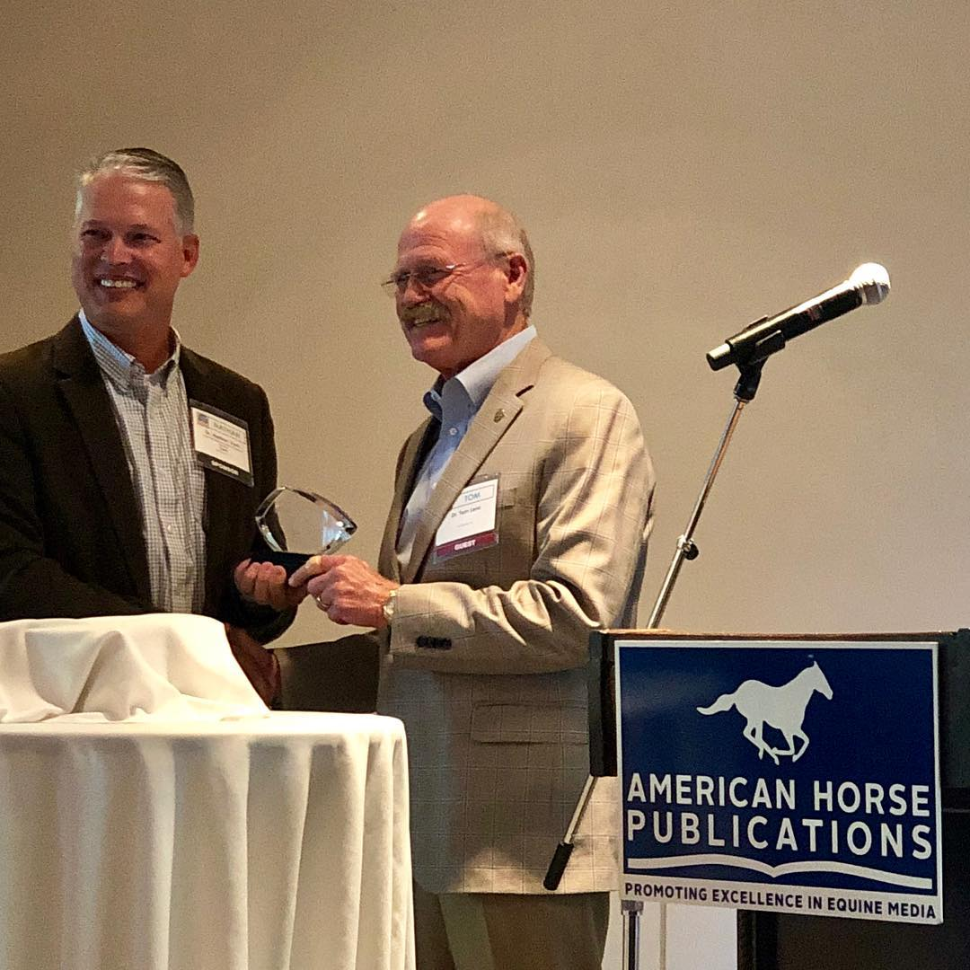 Tom Lenz, DVM, MS, DACT, Recognized for Advocacy Supporting Humane Treatment of Horses